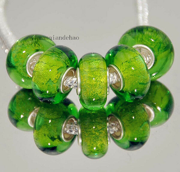 5pcs Silver MURANO GLASS BEAD LAMPWORK fit European Charm Bracelet a96