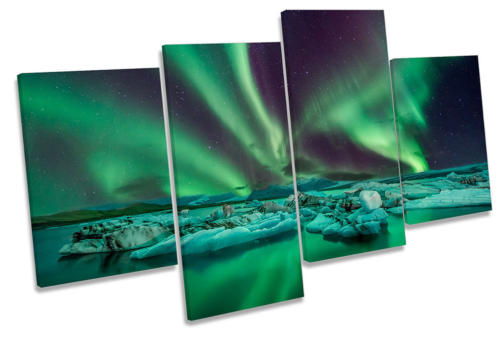 Grün Northern Lights Snow Framed MULTI CANVAS PRINT Wall Art