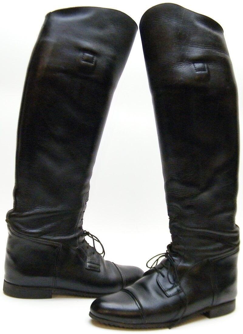 Damenschuhe EMERSON BLACK LEATHER TALL EQUESTRIAN LACE CAPTOE RIDING BOOTS 9.51/2 W