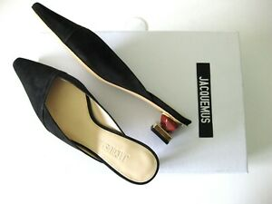 Jacquemus Mismatched Architectural Wooden Jewel Heels Maceio Suede Mules 39