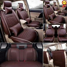 L Size Coffee Car 5-Seat PU Leather Seat Cover Front+Rear Neck Lumbar Pillow Kit