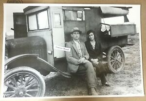 12-By-18-034-Black-amp-White-Picture-1930-039-s-Oklahoma-Farm-homemade-Model-T-camper