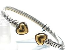 Joseph Esposito Solid 925 Sterling Silver and Gold Coil Heart Cuff Bracelet '