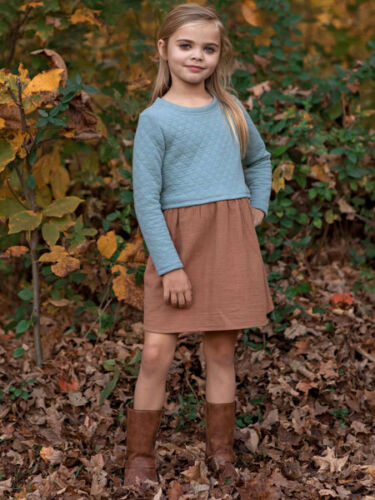 Mable Honey Blue//Brown Falling For You 2 PC Girls Dress Sizes 4-12 NWT
