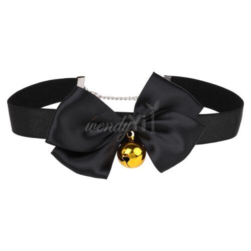 Gothic Lolita Bell Pendant Collar Choker Bowknot Velvet Ribbon Necklace Costume