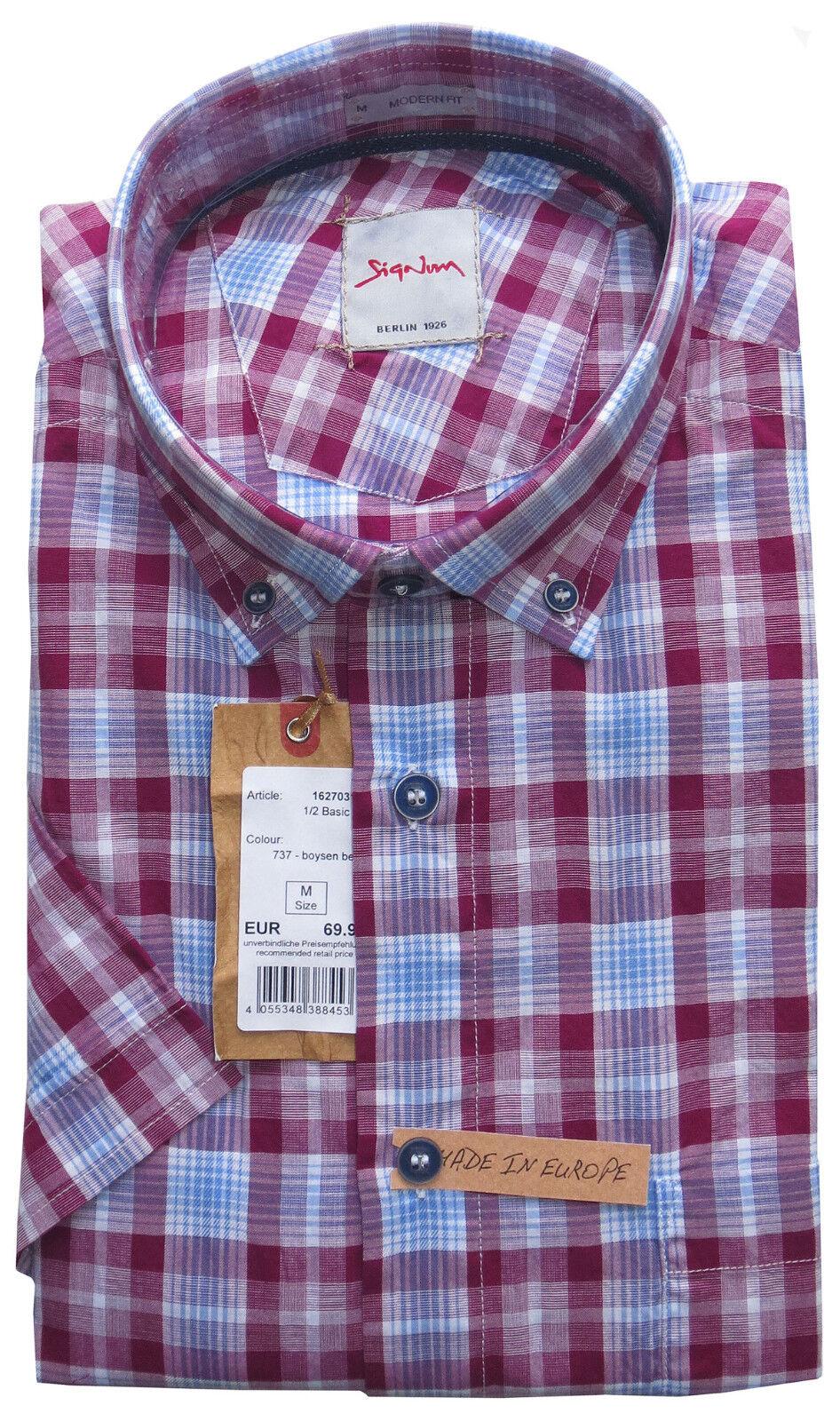 SIGNUM Camicia a maniche corte Modern Fit Nuovo Taglia M OFFERTA SPECIALE A QUADRI   s3.0250