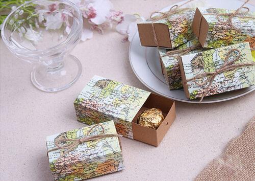 Papier 20//50pcs Carte Favor Box Candy boxes World Mariage Boîtes faveurs B238J