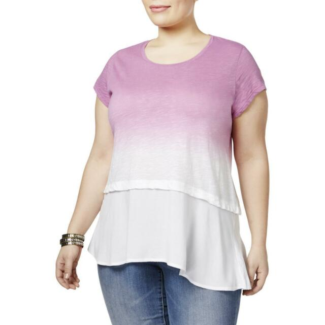 801db40528b 3x Style Co Plus Size Cotton Dip-dyed Orchid Purple Shirt 1165 for ...