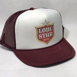 f48b068d Lone Star Beer Texas Brewery Trucker Hat Mesh Vintage 80s Snapback ...