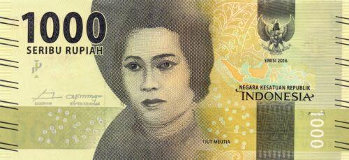 INDONESIA 1000 Rupiah 2016 P154 Tjut Meutia x 2 Consecutive UNC Banknotes