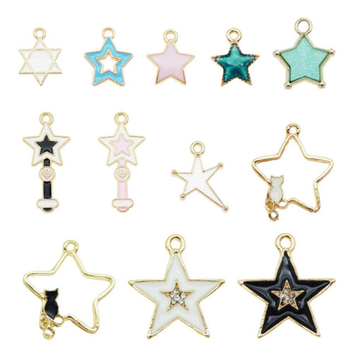 12PCS Enamel Plated Mixed Star Series Pendant Charms Jewelry Findings Crafts