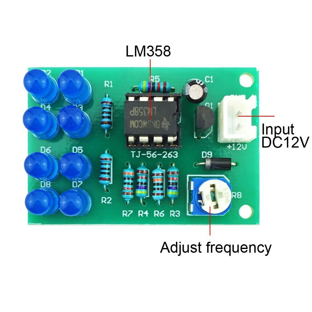 DC 12V DIY Kit LM358 Breathing Light Suite 8pcs 5mm Blue LEDs Electronic Suite