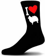 Mens Black Novelty Pomeranian Socks - I Love My Dog Socks