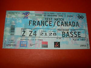 Billet match France - Canada - 23 novembre 2002 - Test match