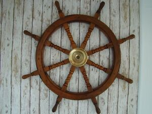 36-034-Wood-Ship-Wheel-Large-Boat-Steering-Helm-Wooden-Nautical-Captains-Decor