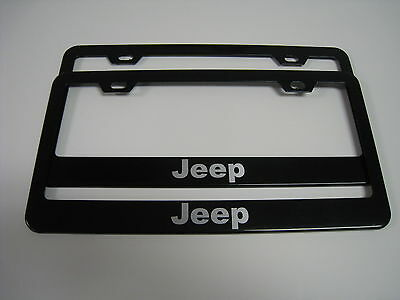 "2 Brand New ""JEEP"" BLACK Metal License Plate Frame Front&Rear"