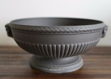 "WEDGWOOD BLACK BASALT FOOTED BOWL WITH RAM HEAD HANDLES 8"" WIDE"
