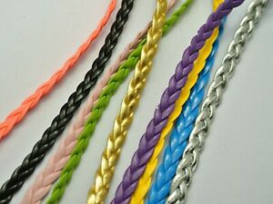 10-Meters-Mixed-Color-Flat-Braided-Bolo-Leatheroid-String-Jewelry-Cord-5X1mm