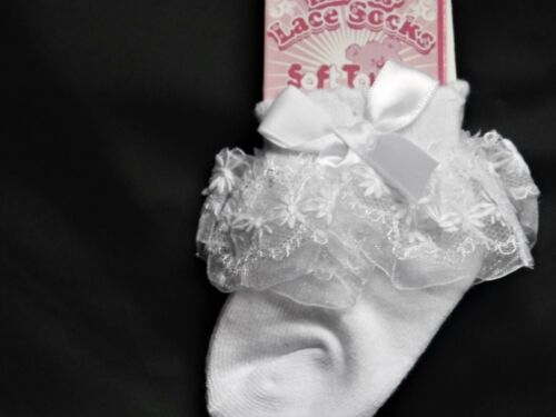 BABY GIRL SINGLE PACK SPECIAL OCCASION SOCKS WITH LACE /& BOW ALSO ROSEBUD
