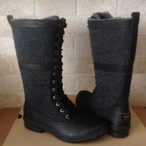 UGG ELVIA TALL BLACK WATERPROOF LEATHER RAIN SNOW BOOTS ...