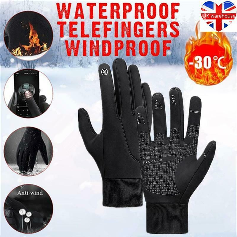 1 Pair Men Winter Waterproof Windproof Thermal Non-slip Touch Screen Gloves UK