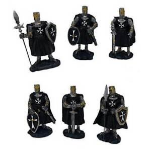 6er Set Ritter schwarz-weiß