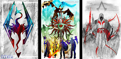 Skyrim Assassin/'s Creed Gamer Art 2 print LOT 11 x 17 High Quality Poster