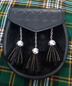 Scottish Semi Dress Kilt Sporran Black Leather Embossed Stag Head Design