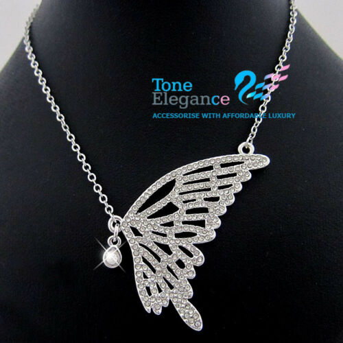 18k 18ct white gold GF women butterfly solid Necklace made with swarovski  #BO50