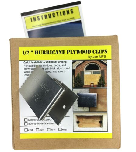 "Stainless Steel 20 Pack 1//2"" Hurricane Plywood Clips to Shutter Windows"