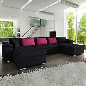 ecksofa silvia elegante eckcouch sofagarnitur sofa couchgarnitur u form ebay. Black Bedroom Furniture Sets. Home Design Ideas