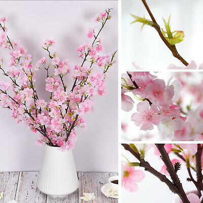 4pcs Artificial Cherry Blossom Flowers Branches Silk Tall Fake Flower Decor Ebay