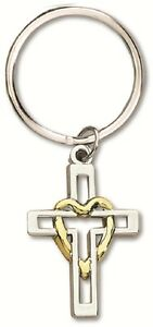 Cross with Heart Two Tone Silver & Gold Key Chain MM1658