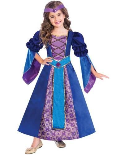 Child Tudor Girl Medieval Princess Maid Marion Fancy Dress Kids Costume Book Day