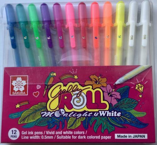 12 x Sakura Gelly Roll Gel Pen MOONLIGHT Set ASSORTED 10 COLOUR SET /& 2 White