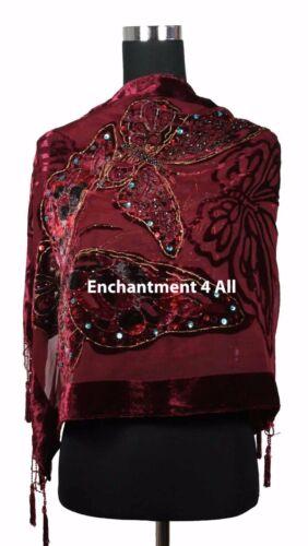Handmade Beaded Butterfly 100/% Silk Velvet Scarf Shawl Burgundy