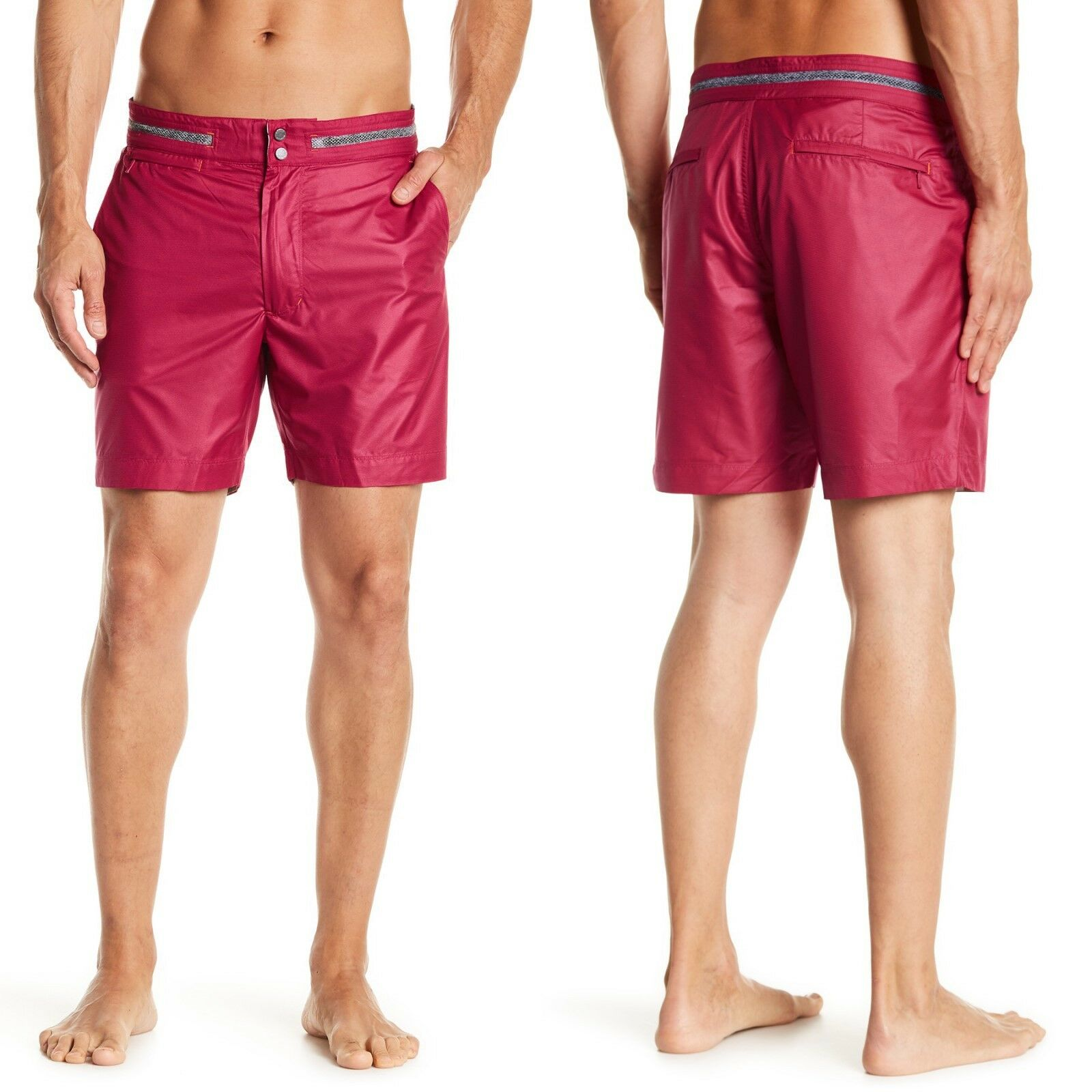 ROBERT GRAHAM Disembark Zip Fly Swim Shorts Trunks in Raspberry Sz.36  NWT