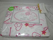 Lady Sandra Home Fashion Pink Elephant Twin Sheet Set ~ Heart Stars Crown Wane