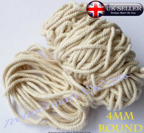 100/% Pure Natural Cotton Rope 3Strand Braided Twisted craft Cord Twine Sash 4mm