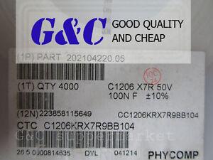 50PCS-1206-X7R-50V-SMD-100nF-0-1-F-RoHS-Capacitors-NEW-GOOD-QUALITY