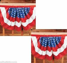 2 Red White Blue Buntings FLAG Patriotic American Banners Swags Pennants Decor