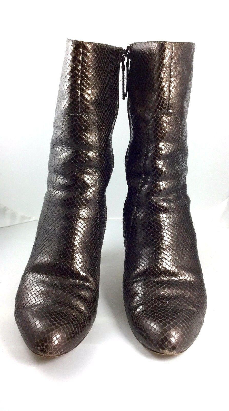 COLE HAAN Dark Brown Snake Embossed Leather  Harper  Mid Calf Bootie Size 7