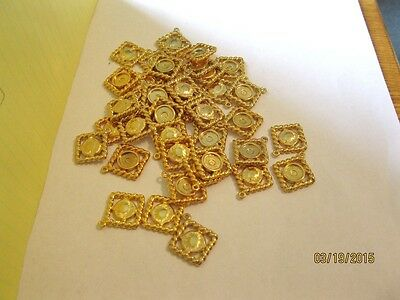100 LOT Goldtone Twisted Edge Square  W/Center Findings for Earrings Necklaces