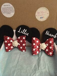 "3.5"" Personalised Polka Dot Mouse Ears With Jewelled Centre Complete In Specifications Clothes, Shoes & Accessories"
