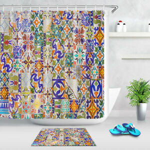 Image Is Loading Portuguese Tile Bohemian Style Fabric Shower Curtain Set
