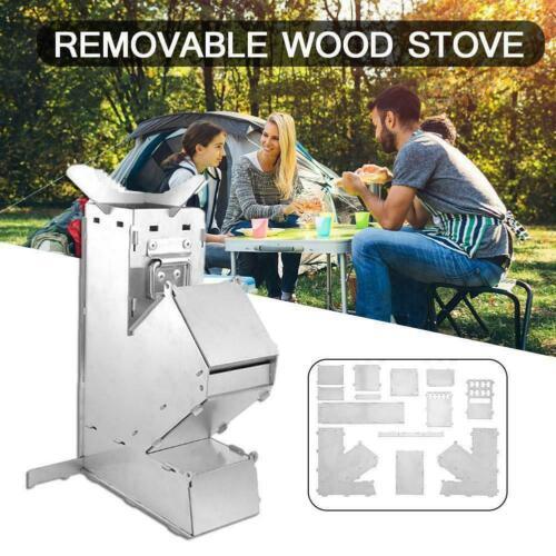 Outdoor Camping Wood Stove Folding Picnic Rocket Burner BBQ Cooking Stove N7I4