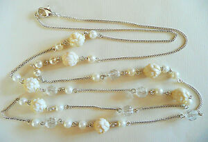 VERY LONG SILVER NECKLACE_CREAMY FLOWERS WHITE PEARLS amp FACETED CLEAR BEADS_NEW - Basingstoke, Hampshire, United Kingdom - VERY LONG SILVER NECKLACE_CREAMY FLOWERS WHITE PEARLS amp FACETED CLEAR BEADS_NEW - Basingstoke, Hampshire, United Kingdom