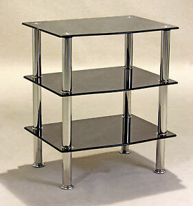 Details about TV Stand HiFi Unit Display Stand DVD Player Game Console  Black Glass Three Shelf