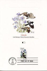 First Day Of Issue / Fdc / Oiseaux & Fleurs Des 50 Etats Des Usa / Colorado