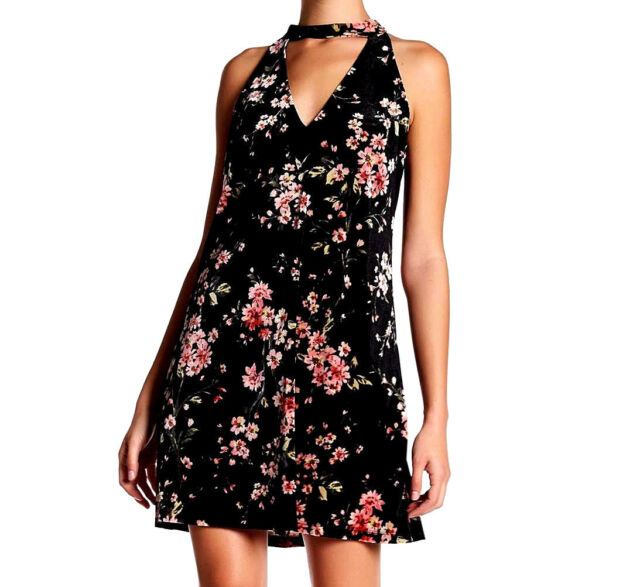 New Nwt 80 Asos Lush Black Pink Floral Velvet Halter Cage Swing A